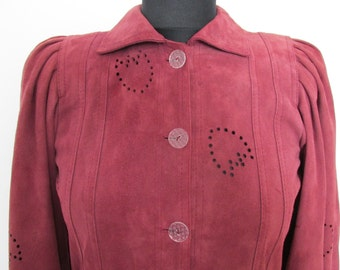 JEAN MUIR vintage suede dress coat plum wine / dusky rose designer couture long sleeve tulip flower