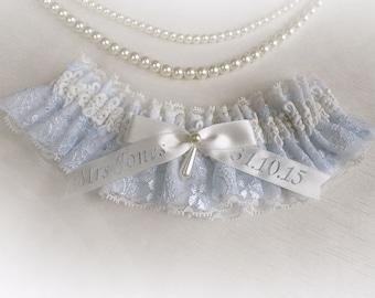 Personalized garter Ivory light blue lace wedding bridal bridesmaids garter  vintage style garter something blue