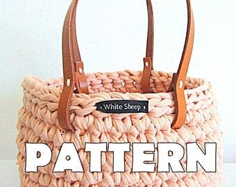 CROCHET BASKET PATTERN/ Basket with handles/ Instruções de Cesto em crochet