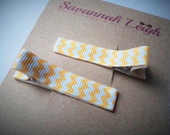 Yellow white chevron hair clips girls grosgrain ribbon