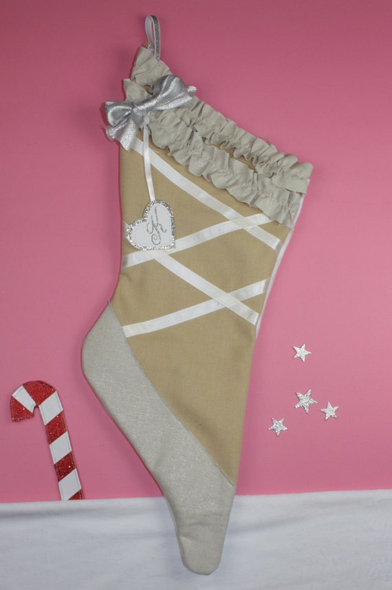 Sugar plum fairy stocking ballet shoe for by thestockingshoppe for Ballet shoes christmas decoration