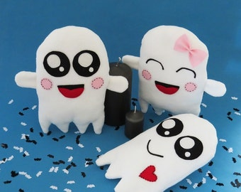Plush Sewing Pattern, ghost softie, 3 different patterns included, instant pdf download