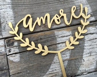 "Amore Wedding Cake Topper | Modern Calligraphy | 6.0"" inches 