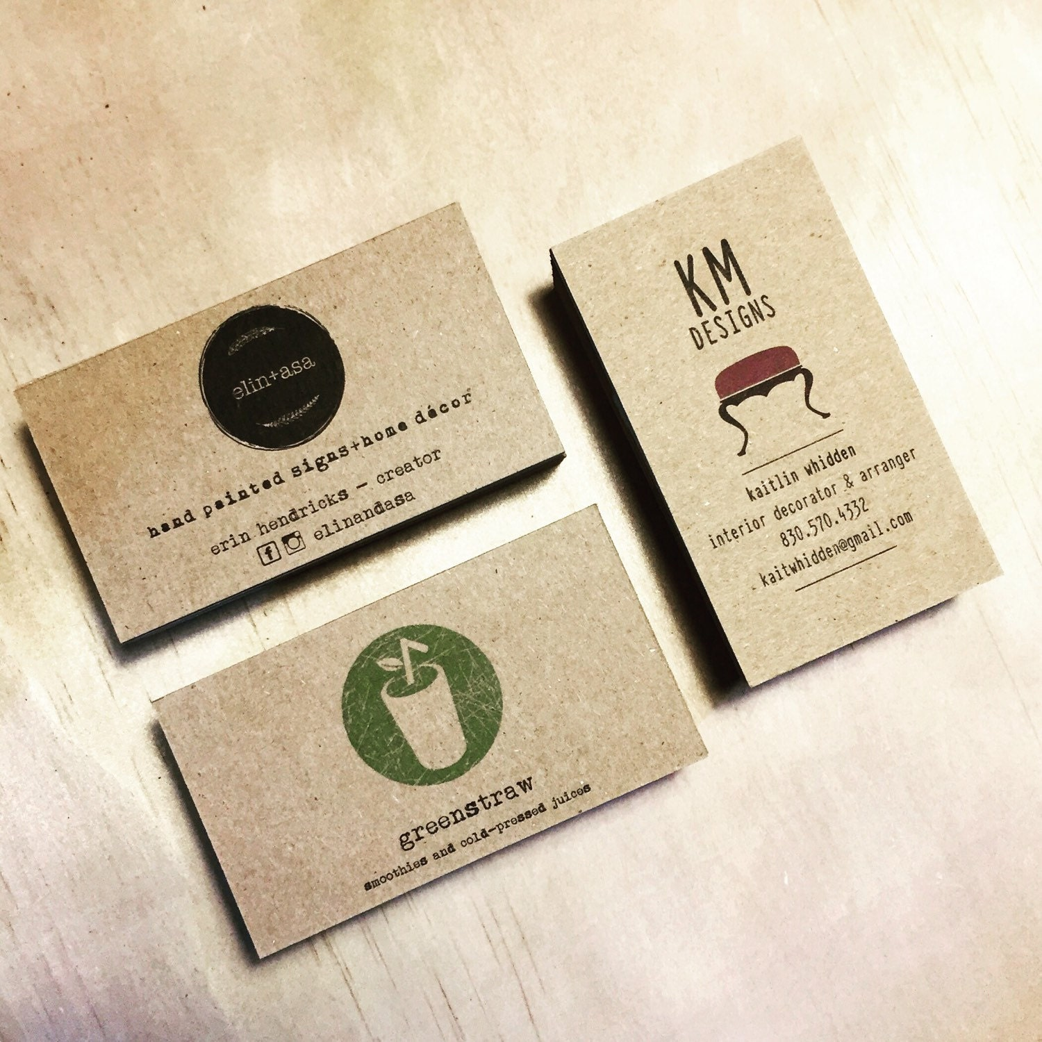 minimalistic kraft business cards set of 50 one sided