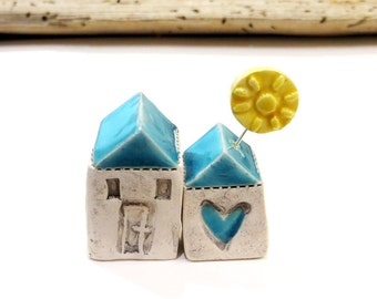 Little Ceramic houses Miniature houses Little rustic cottage Ceramic houses with blue roof and sun