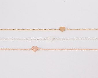 Bracelet Silver Gold Rosegold Heart Love Chain Plated Hearts Silver Plated Ballchain Chain Plated