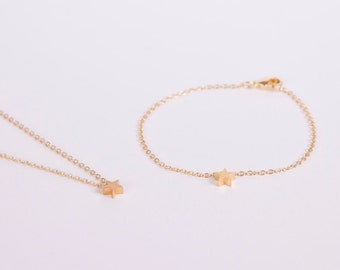 Set Gold Plated Bracelet And Necklace Star Golden Starlet Star Bracelet And Star Necklace