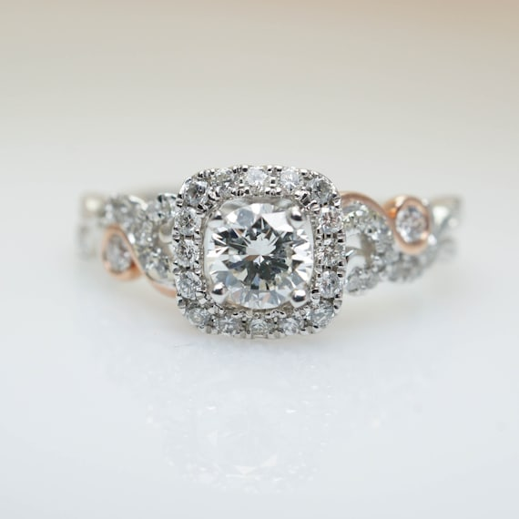 Intricate Nature Inspired White Gold Diamond Engagement Ring