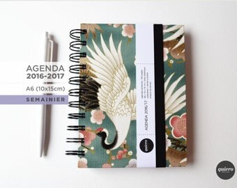 Agenda A6 2016-2017 - Japanese - crane green fabric