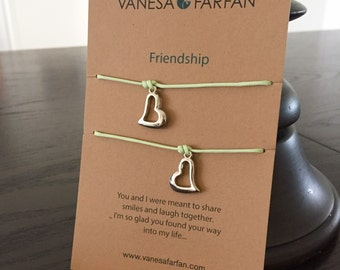 Friendship Bracelet Mother & Daughter Silver Heart, Double, For Kids, Girls and Women, Adjustable, 16 colors