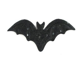 "Halloween - Set of 5 Large Black Bats - 1.25"" Padded Appliques - PA-029"
