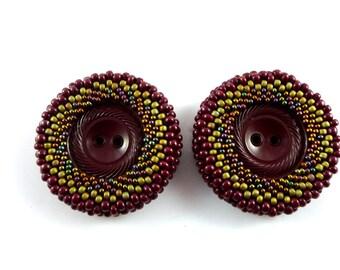 Handmade Beaded Button Maroon Khaki Iridescent Peyote Stitch