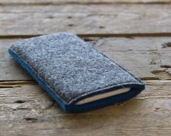 iPhone Sleeve / iPhone Cover / iPhone Case in Mottled Dark Grey and Teal Blue 100% Wool Felt