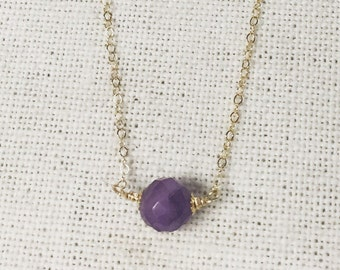 "Necklace, 14k gold filled and amethyst.16"" in length."