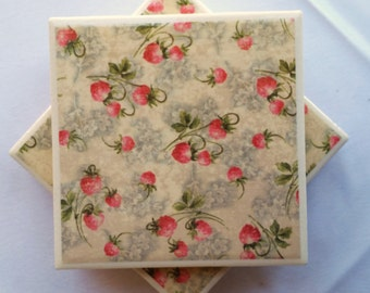 Ceramic Tile Coaster Set: Strawberries/Strawberry Coasters/Strawberry Decor/Strawberry Coaster Set