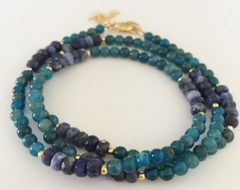Apatite & Sodalite Beaded Wrap Bracelet - Gold Filled Beads
