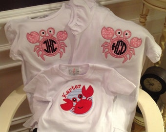 Cute Crab applique t-shirt with child's initials.