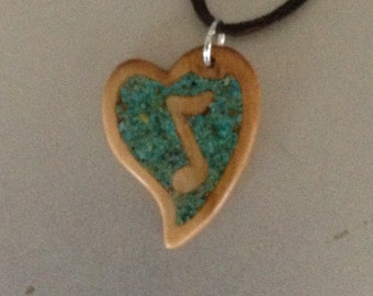 Music Note Pendant. Cherry With Turquoise Stone Inlay.
