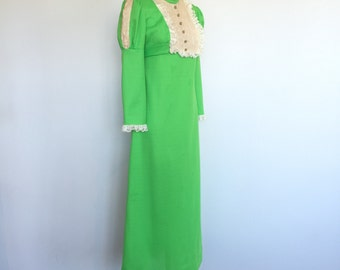 1960's Vintant Green with Lace Ruffle Details - Maxi Dress