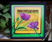 Inside-Out - Poppy painting - 12x12 Inch, framed - Original-Signed - FREE Shipping!