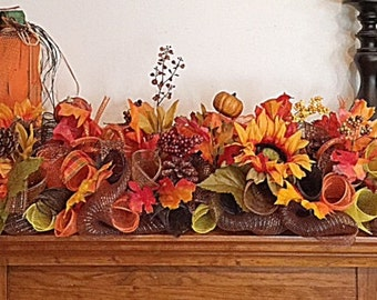 Fall Arrangement/Autumn Deco Mesh Centerpiece/Fall Sunflower and Pinecone Centerpiece/Thanksgiving Arrangement