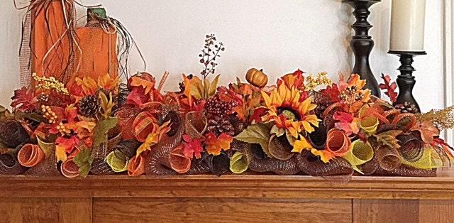 Fall arrangement autumn deco mesh centerpiece