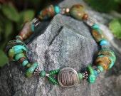 Boho Turquoise Bracelet, Vintage Button Closure, Sterling Silver, Green Blue Chunky Turquoise Stones, Gypsy Earthy Bracelet, Southwestern