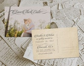 """Wedding Save The Date Card - SwirlGroove Vintage Lace Photo Personalized 4""""x6"""""""