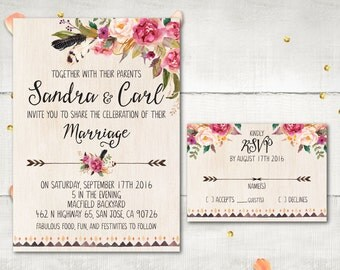 Wedding Invitation and RSVP - Lucrece Rustic Boho Flowers Feathers Invitation Personalized Card Suite