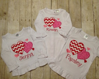 Girls Personalized Valentines Day Heart Shirt/ Monogram Valentine Shirt/ Girls Valentine Heart Onesie/ Size newborn-youth 12, L/S or S/S