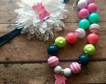 Fun Peppa Pig chunky necklace  headband set peppa pig necklace set peppa pig headband pig necklace peppa bubblegum necklace