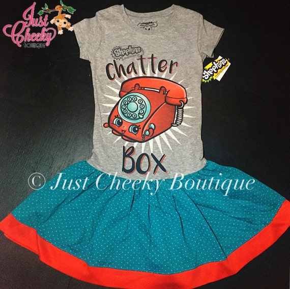 Ready to Ship - Shopkins Chatter Box Dress - Shopville - Shopkins Girls Shirt Dress - Upcycled T Shirt Dress - Shopkins Birthday Dress