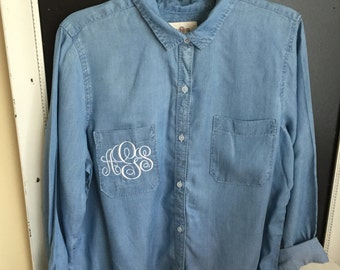 Monogrammed pocket oxford. Denim shirt for fall. Or white for a wedding gift for thd bride to be.