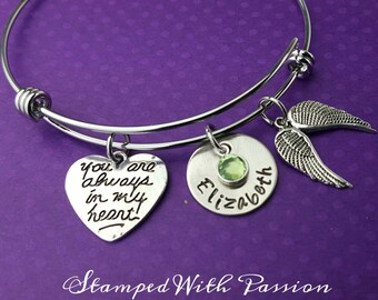 Miscarriage Bracelet - Always in my Heart - In Memory of Child Bracelet - Hand Stamped Jewelry , Memory Jewelry, Memorial Bracelet - Angel
