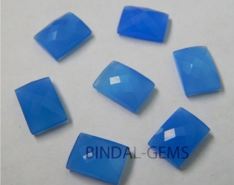 15 Pieces Lot Blue Chalcedony Octagon Shape Checker Cut Loose Gemstone