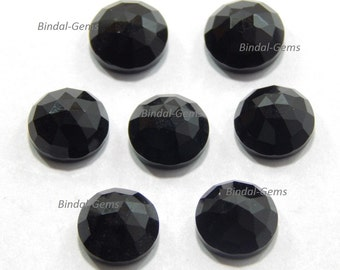 10 Pieces Wholesale Lot Black Onyx Round Shape Rose Cut Loose Gemstone For Jewelry