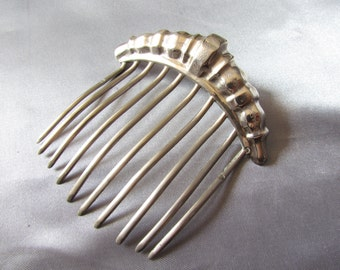 Antique Victorian French Hair Comb, Bun Comb, Sterling Silver Comb