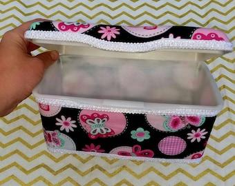 Butterfly Wipe Case - Large Tub, Baby Wipes Case, Storage, Organization, Nursery Decor