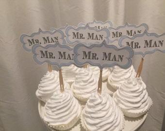 Mr. Man Glittered logo cupcake toppers.