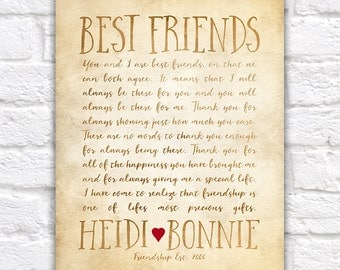 Custom Letter for Best Friend Art, Friendship Poem, Birthday or Thank You Gift BFF, Friend Art, Personalized Friends, Miss You | WF323