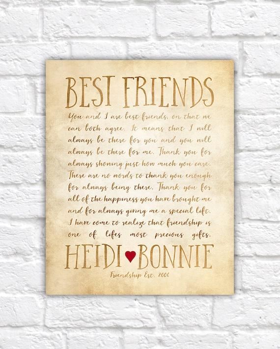 Custom Letter for Best Friend Art Friendship Poem Birthday