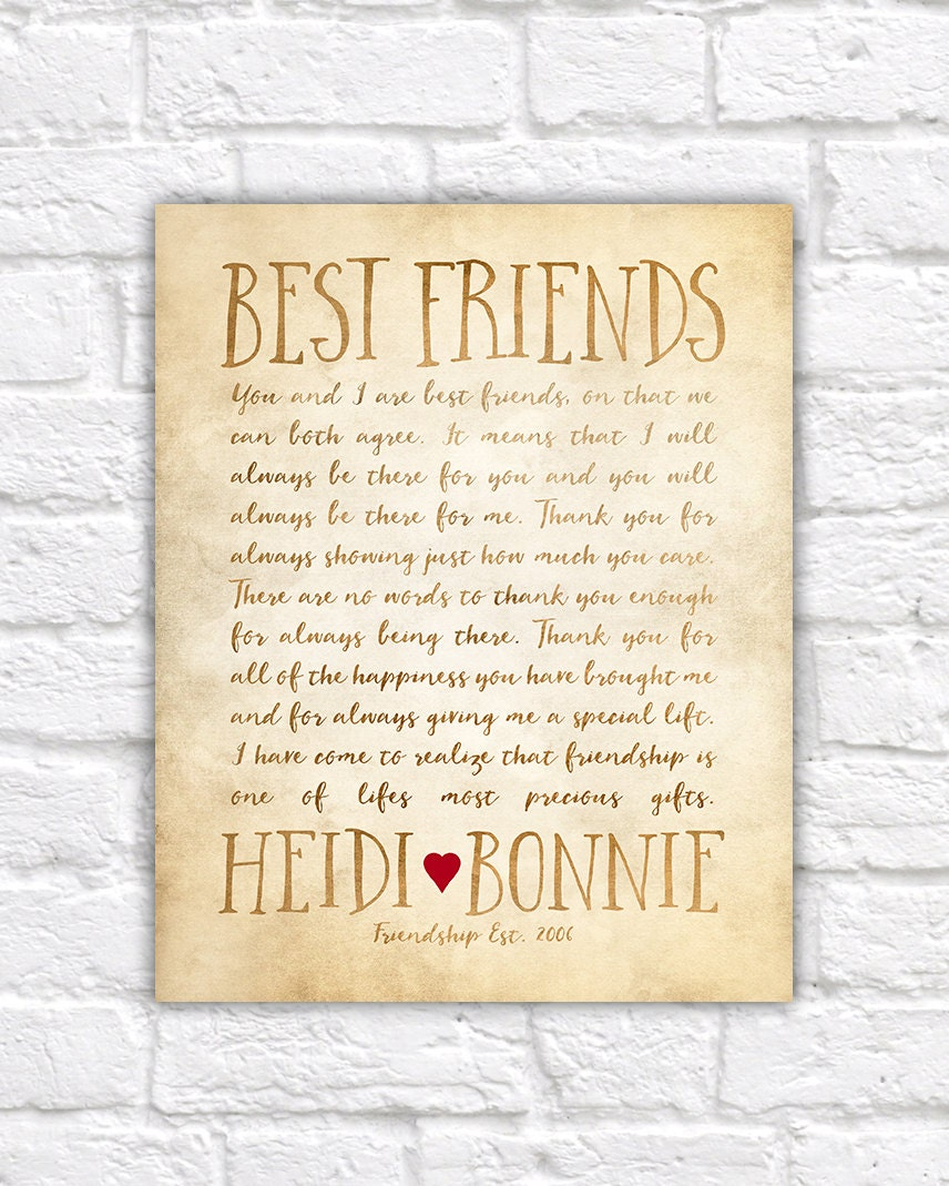 Custom letter for best friend art friendship poem Gifts to show appreciation to friend