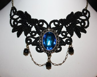 stunning  black lace necklace with blue  glass cabochon