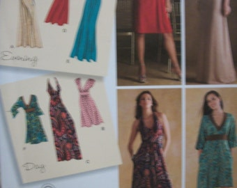 Simplicity 3503 Misses (Size H5 6,8,10,12,14) and (R5 14,16,18,20,22) knit dress in 2 lengths with bodice variations