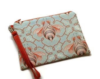 Jade and coral  bumble bees zippered iphone wristlet purse. Bees lover gift idea!