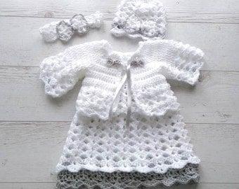 Crochet Baby Dress Set - Crochet Newborn Clothes - Crochet Dress, Headband - Newborn Dress - Baby Gift - Infant Clothes - Baby Shower Gift