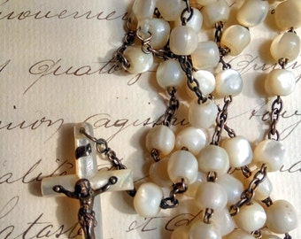 Antique French Mother of Pearl Rosary