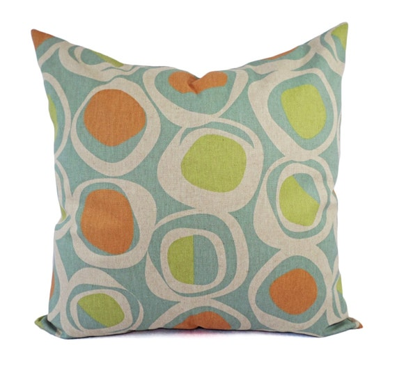 Blue And Green Decorative Throw Pillows : Orange Green and Blue Decorative Pillow Covers Two Geometric