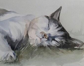 Cat Painting, Cats, Cat Art, Cat Watercolor, Pet Portrait 7 x 9