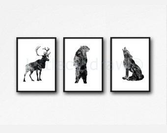 Woodland Animals Print Set Of 3 Watercolor Prints Black Deer Bear Wolf Art Illustration Home Decor 3 Art Prints Wall Art Wall Decor